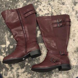 NIB Torrid Burgundy Knee High Boots Extra Wide 10